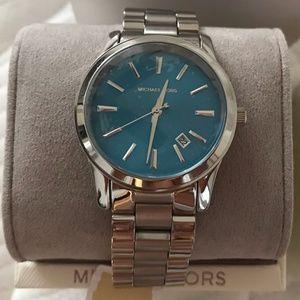 Michael Kors Silvertone/Blue Runway Bracelet Watch